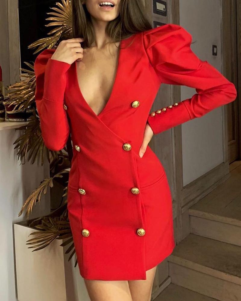 ivrose / Double Breasted Puffed Sleeve Blazer Dress