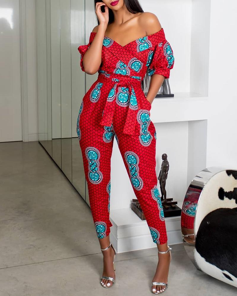 Off Shoulder Puffed Sleeve Print Jumpsuit, Red