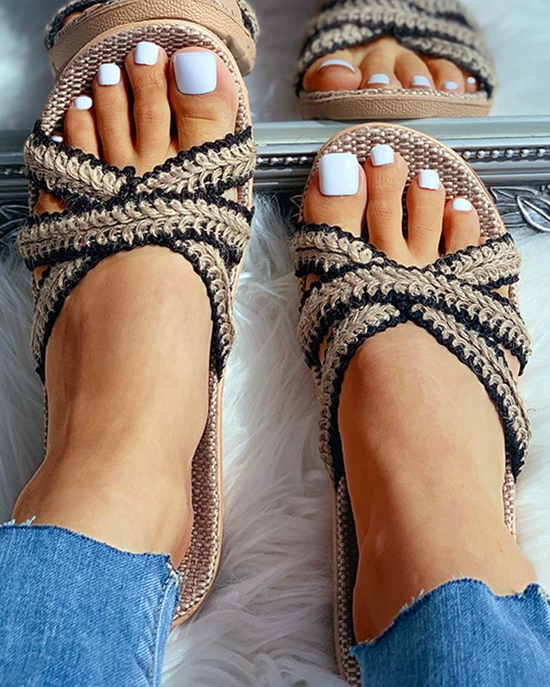chicme / Sandalias planas cruzadas de lino tejido