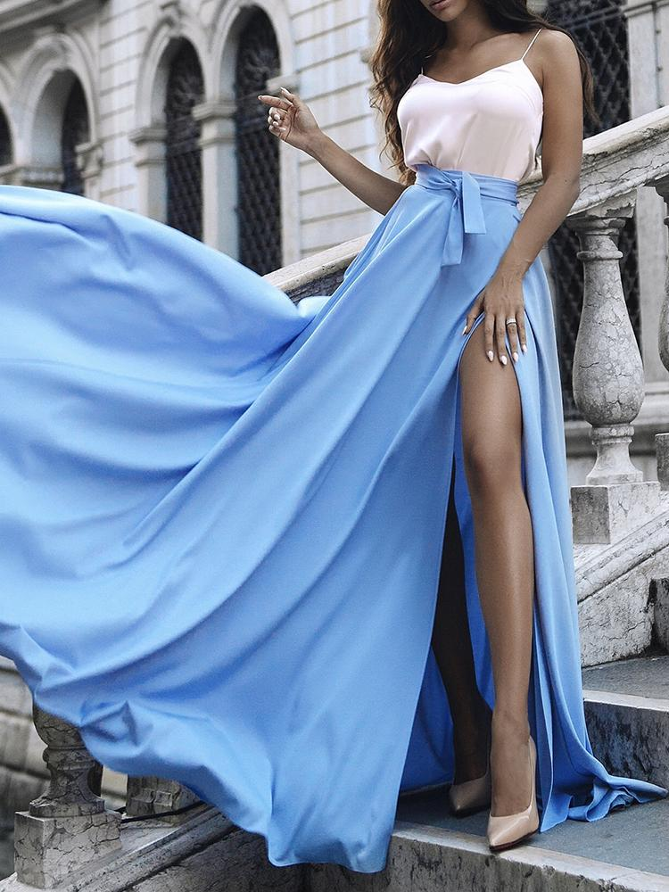 Solid Tie Waist Thigh Slit Maxi Skirt