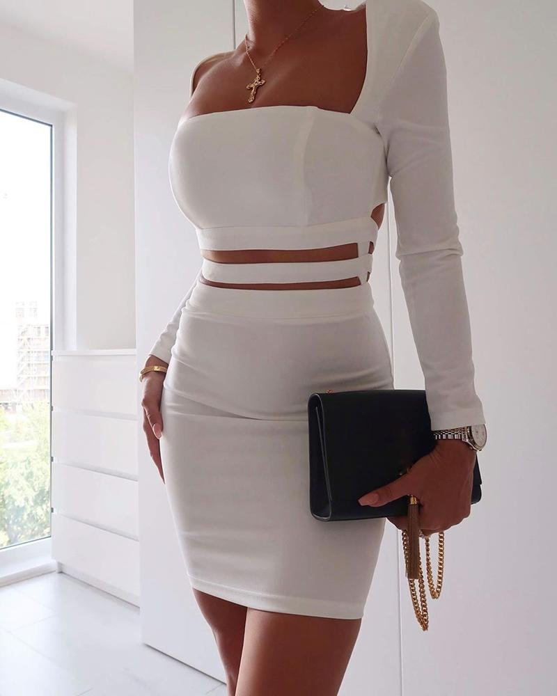 Solid Square Neck Cut Out Waist Bodycon Dress фото
