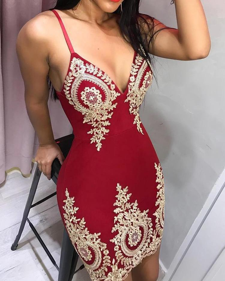 Spaghetti Strap Deep V Lace Embroidery Dress фото
