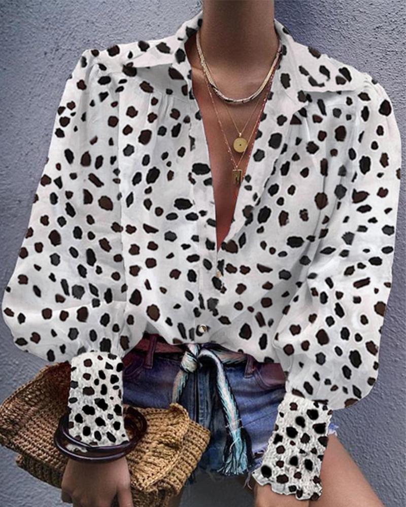 Leopard Bishop Sleeve V Neck Shirt, White