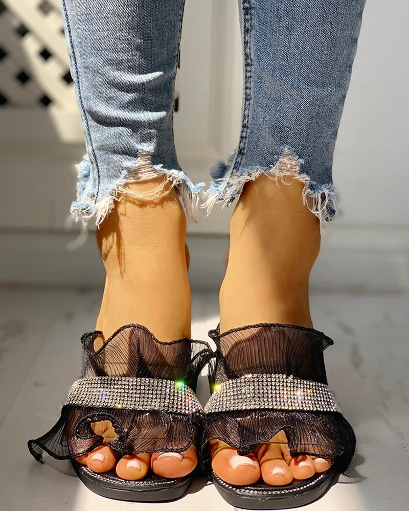 Studded Ruffles Mesh Design Casual Sandals, joyshoetique, black  - buy with discount