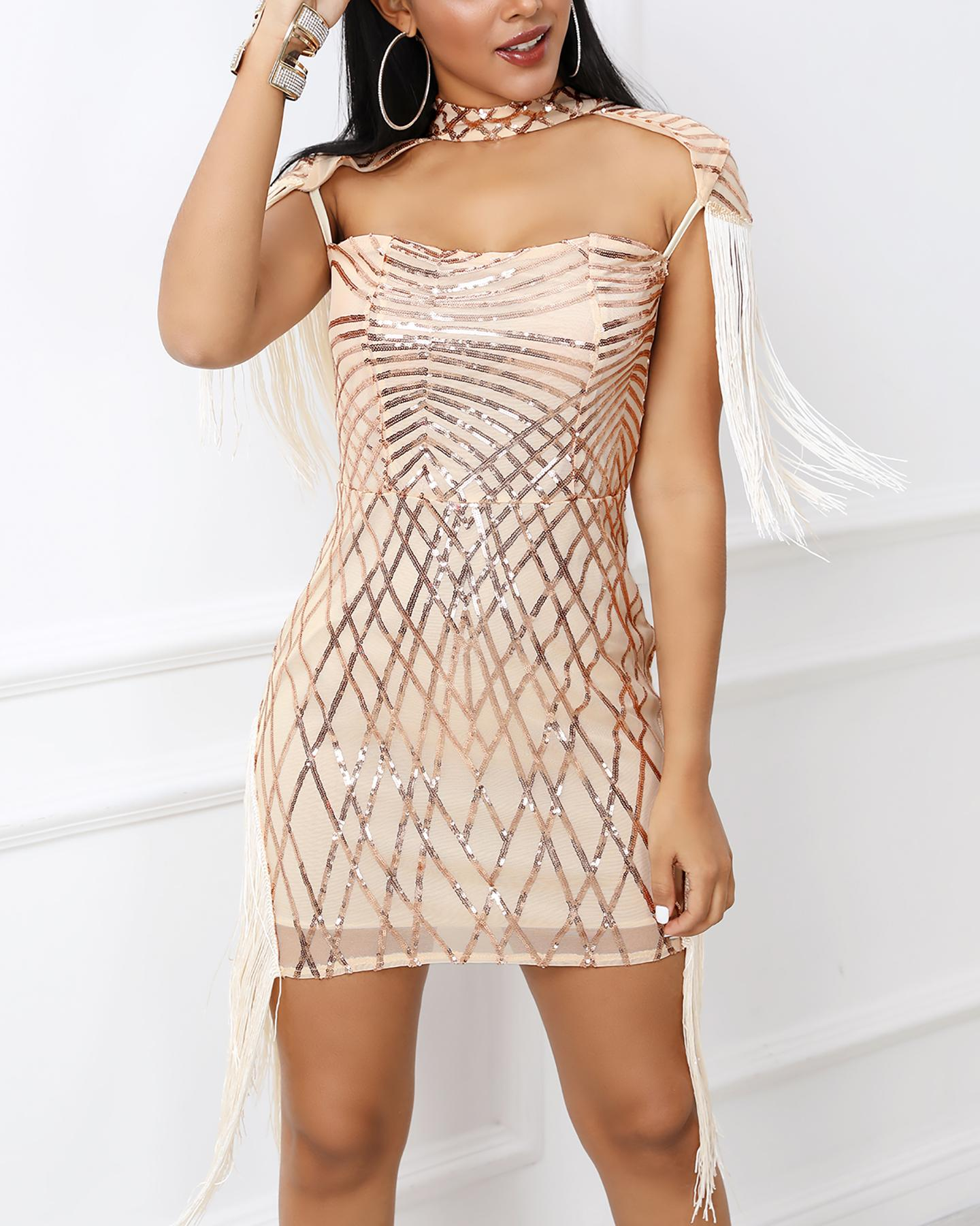 Tassel Detail Cut Out Sequin Party Dress фото