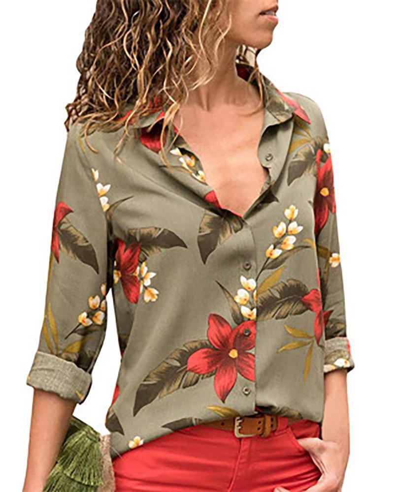 Floral Printed Turn-down Collar Shirt фото