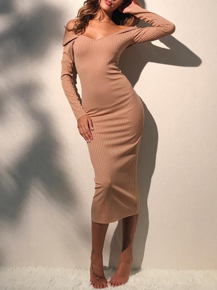 Off Shoulder Ribbed Slinky Bodycon Maxi Dress