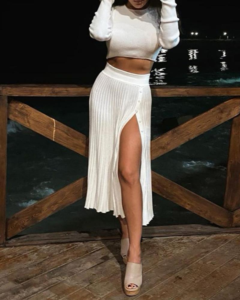 ivrose / Plain Long Sleeve Crop Top & High Slit Pleated Dress