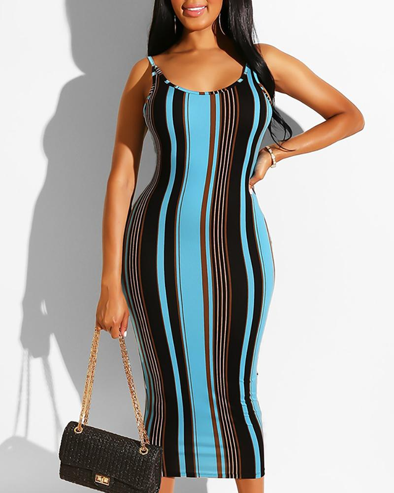 Thin Strap Striped Backless Bodycon Dress, Blue