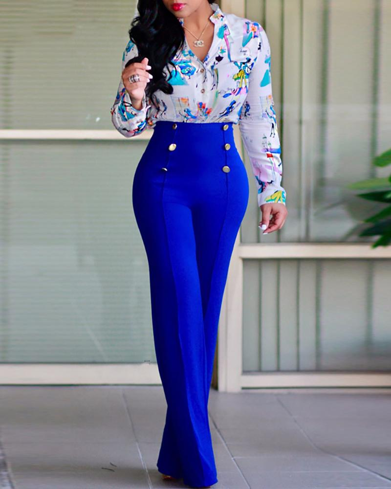 Double-breasted High Waist Wide Leg Pants фото