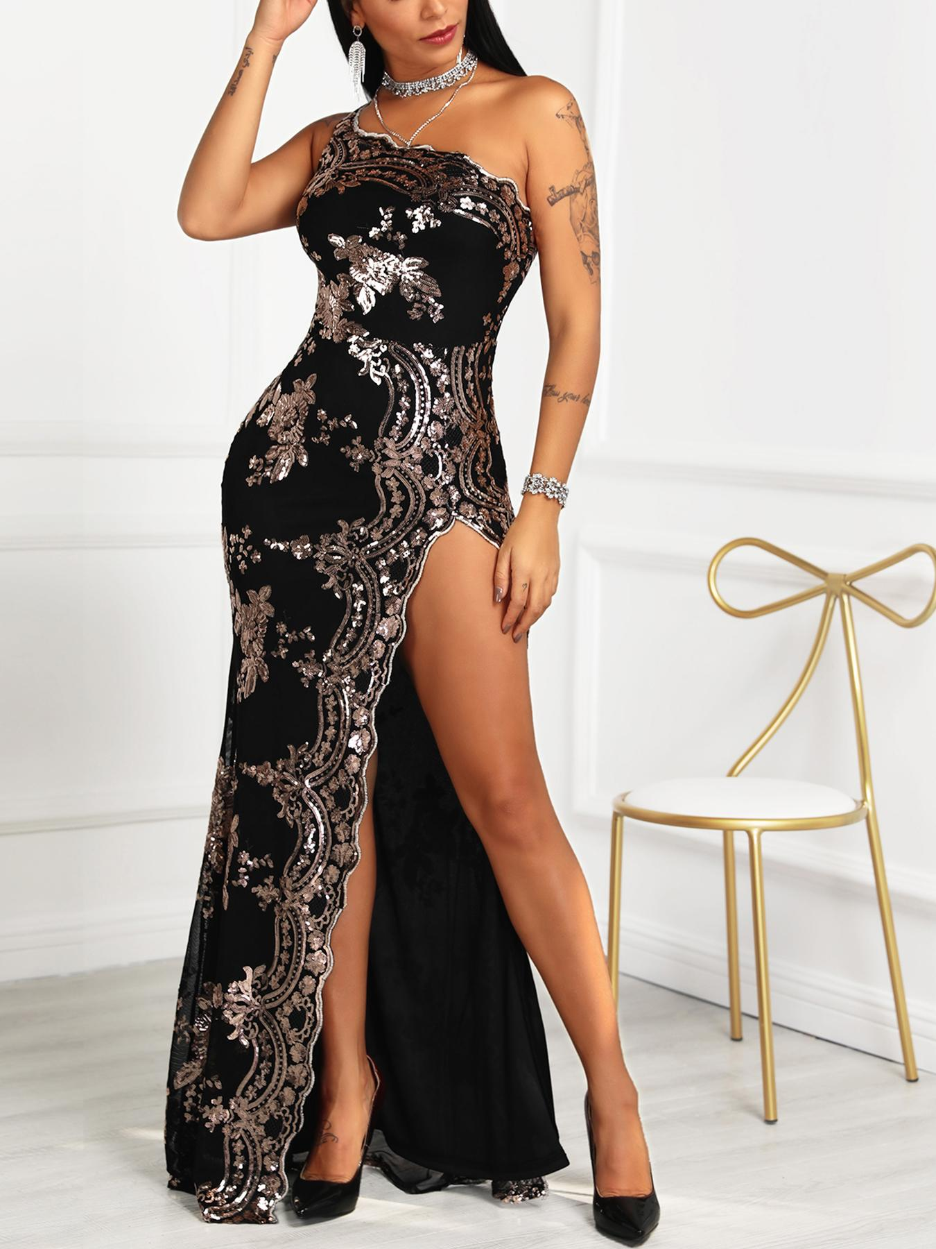 joyshoetique / One Shoulder High Slit Sequin Party Dress