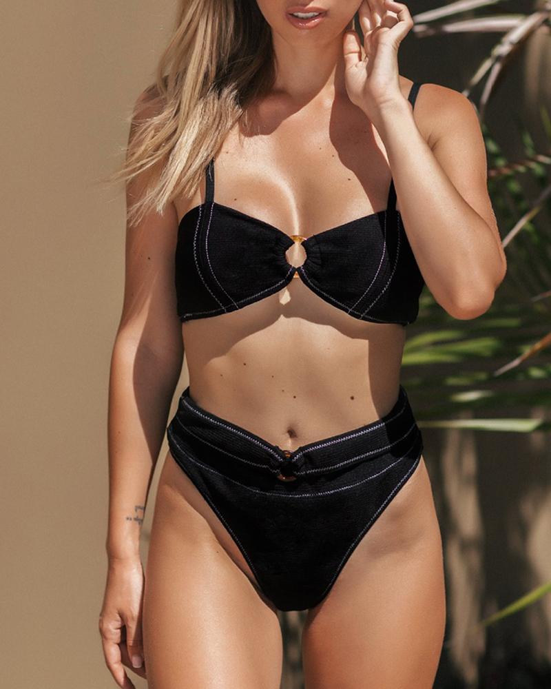O-ring Design Ribbed Bikini Set фото