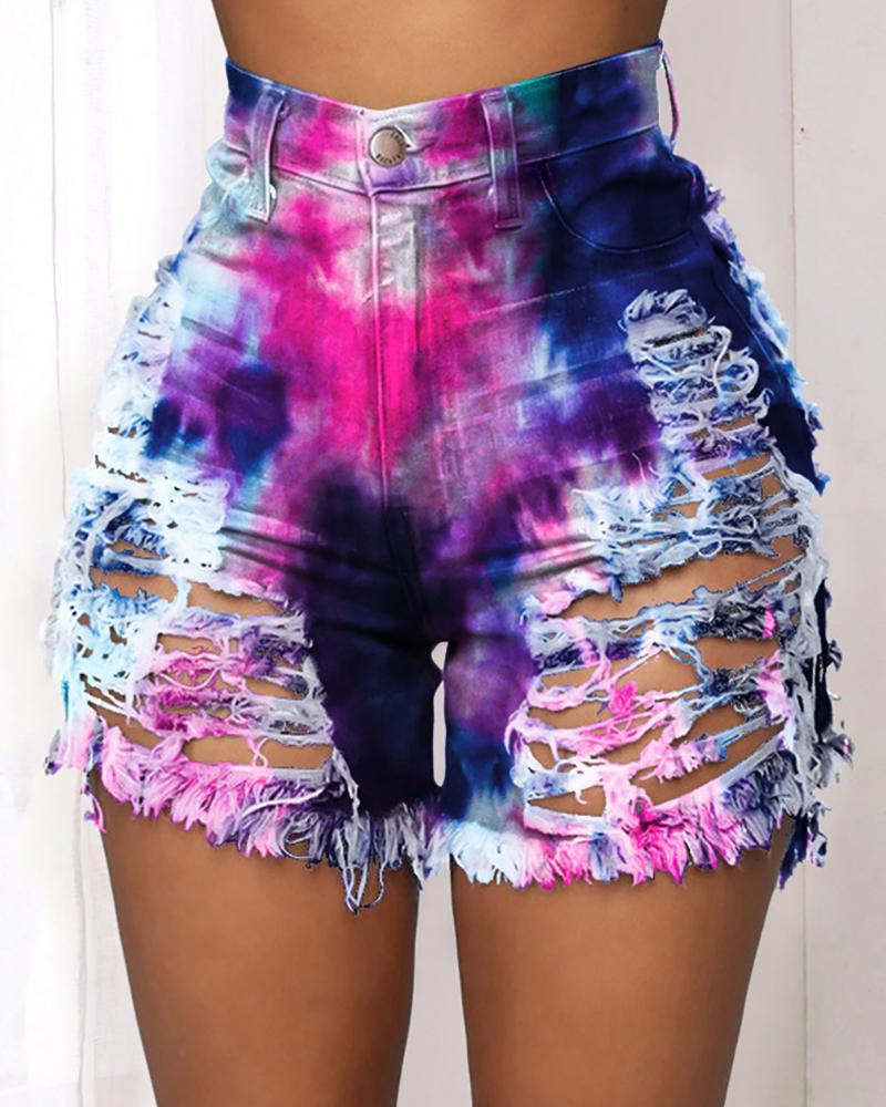 boutiquefeel / Gravata Dye Imprimir Recorte angustiado Fringe Hem Denim Shorts
