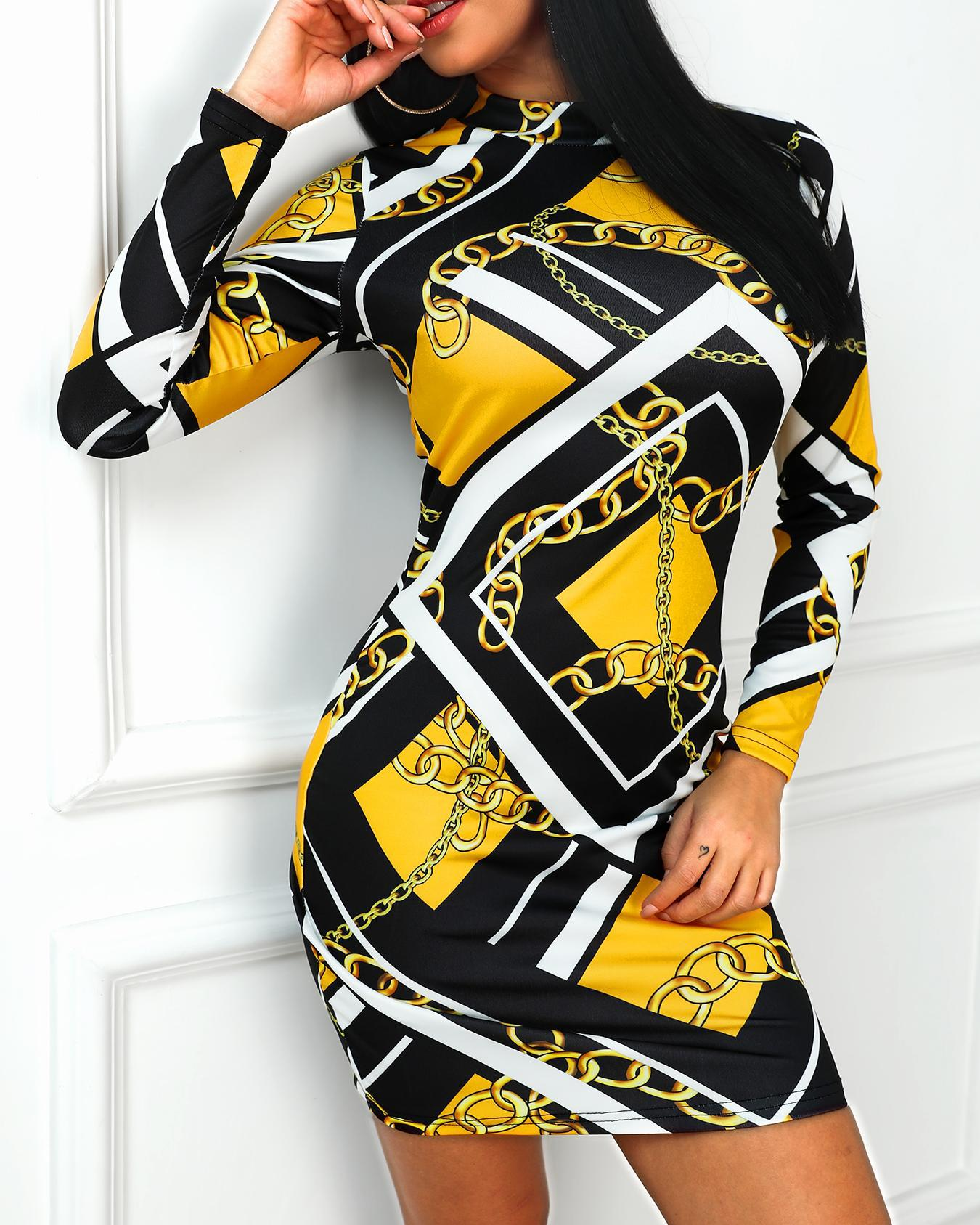 Geo & Chains Long Sleeve Bodycon Dress фото