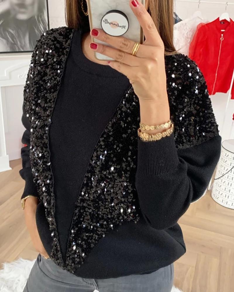 boutiquefeel / Glitter em torno do pescoço manga comprida Sequins Insert Sweater