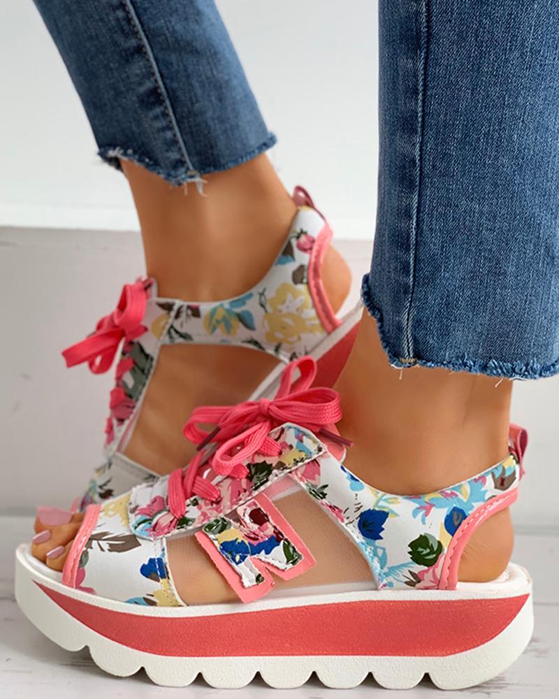 Floral Print Sheer Mesh Slingback Platform Sandals фото