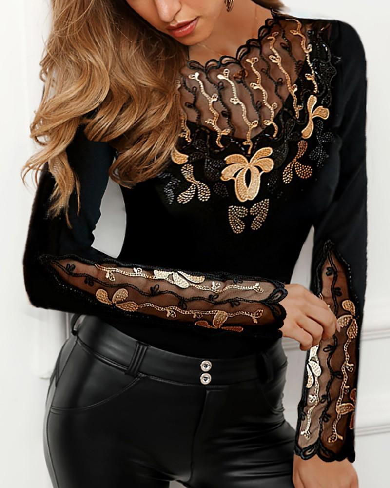 Sheer Mesh Studded Embroidery Blouse фото