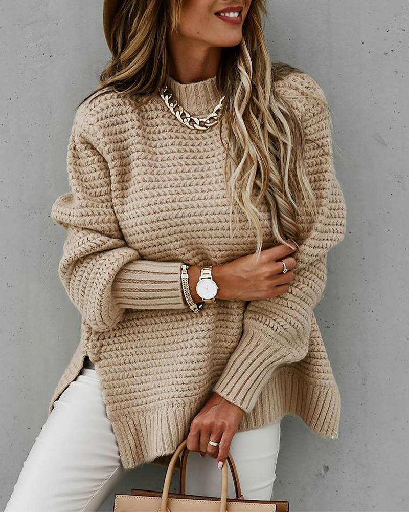 joyshoetique / Solid Long Sleeve Loose Slit Hem Sweater