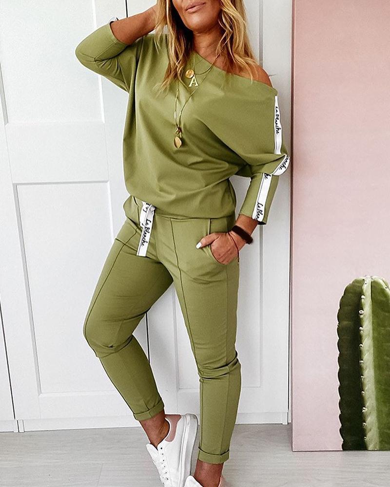 boutiquefeel / Conjunto de pantalones con cordón y top con estampado de letras