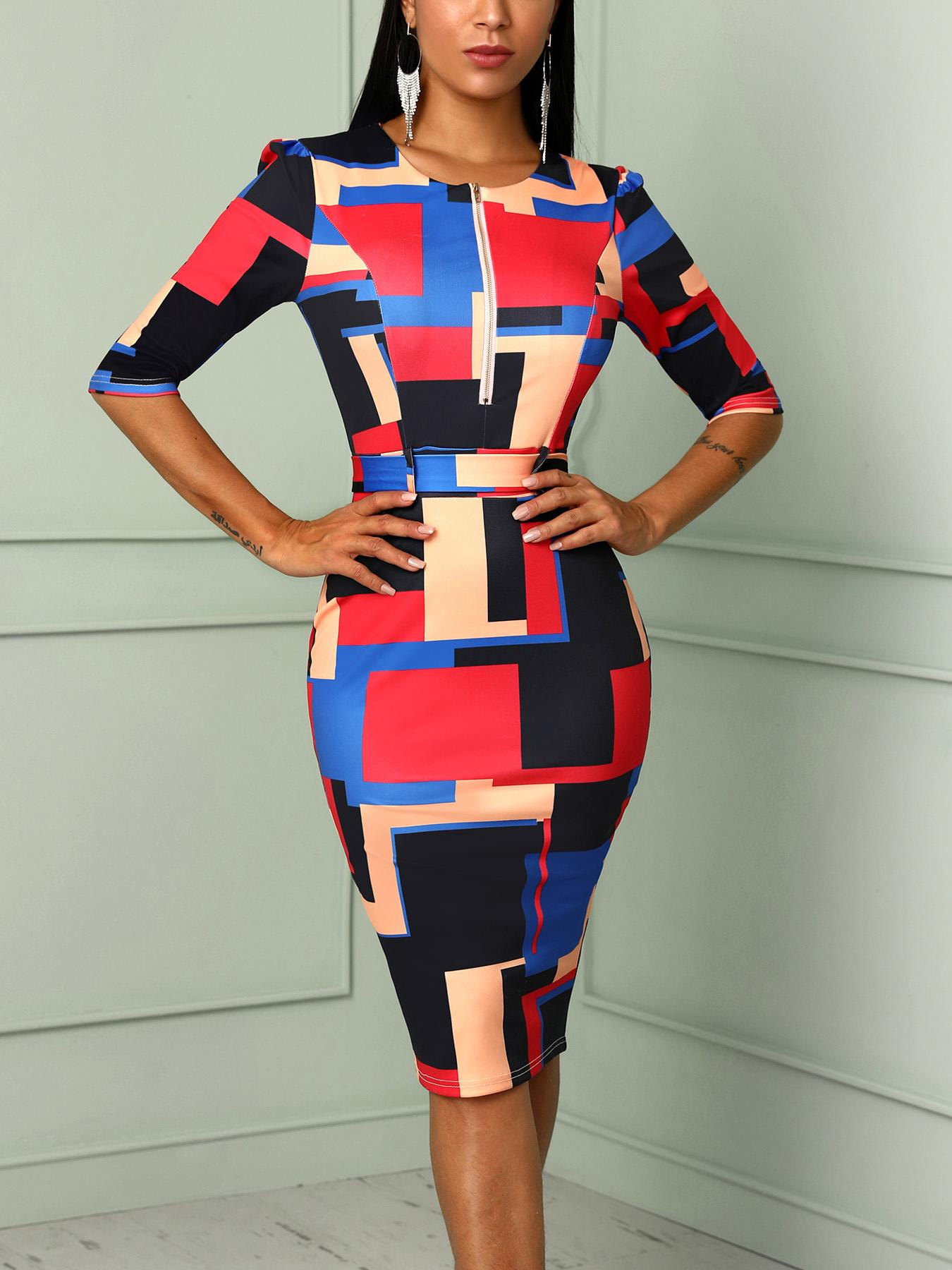 Color Blocking Zipper Up Front Belted Midi Dress