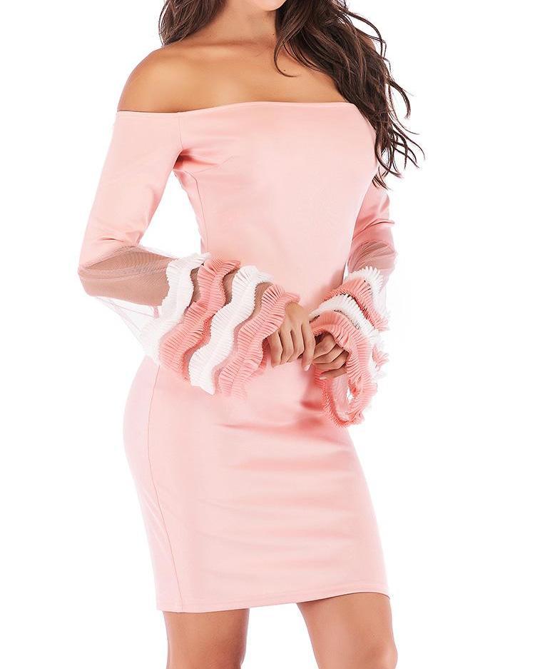 Frills Mesh Flared Sleeve Bodycon Dress