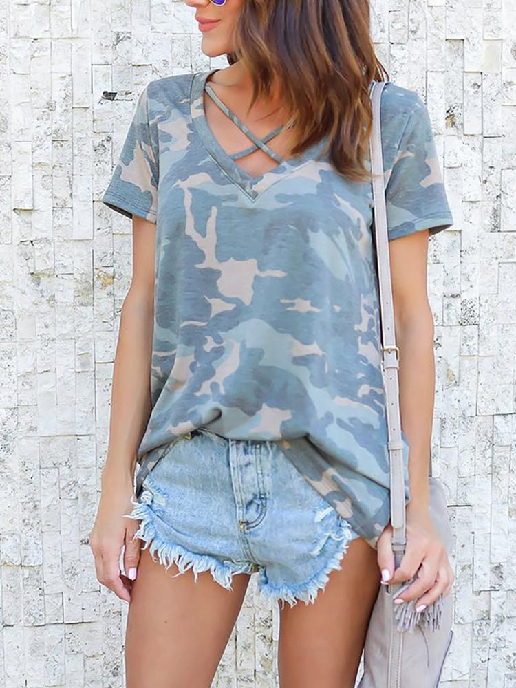 Camouflage Print Crisscross Front  Casual T-shirt