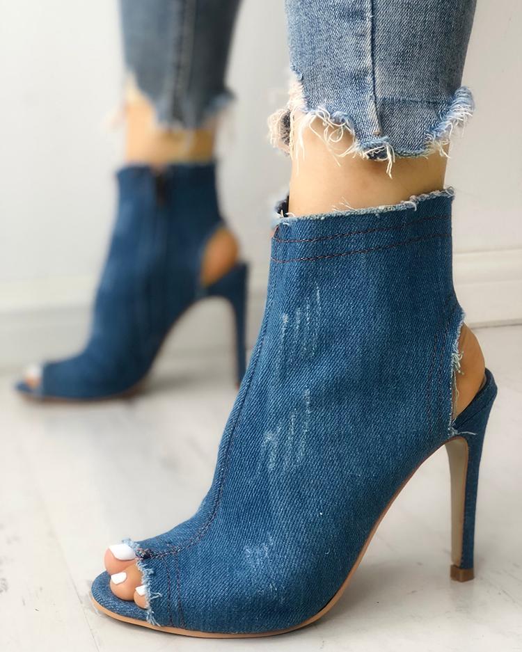chicme / Peep Toe Slingback Denim Thin Heels