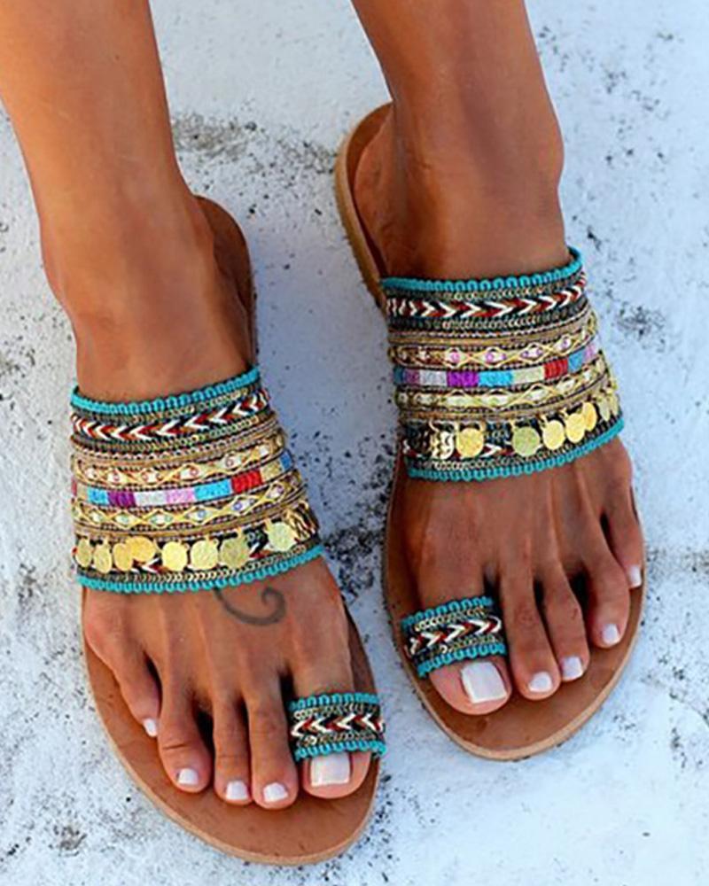 Ethnic Boho Style Toe Ring Sandals фото