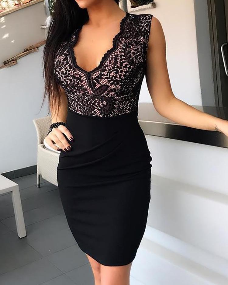 Гипюр Кружева Сращивание Черное Платье