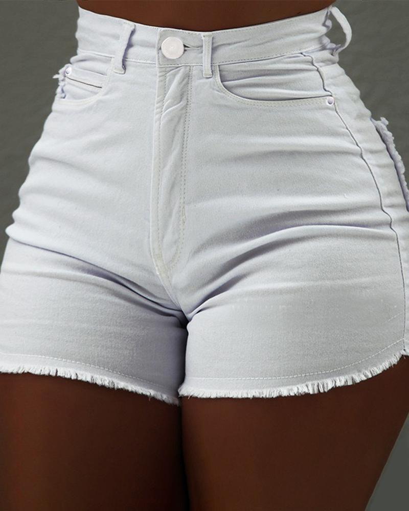 boutiquefeel / Fringes Hem Shorts Jeans de Cintura Alta