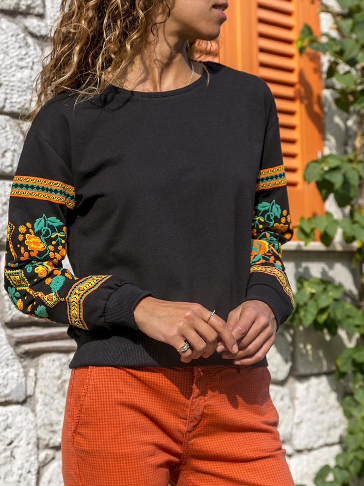 Floral Print Round Neck Casual Sweatshirt