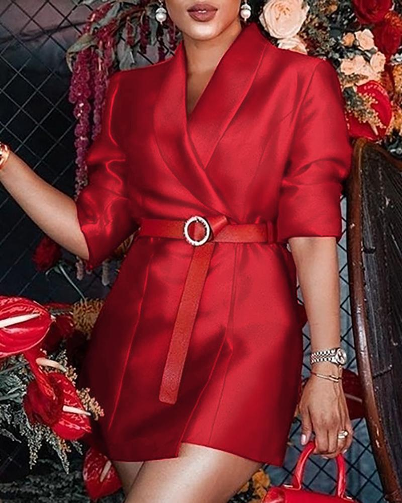 Solid Half Sleeve Blazer Dress, Red