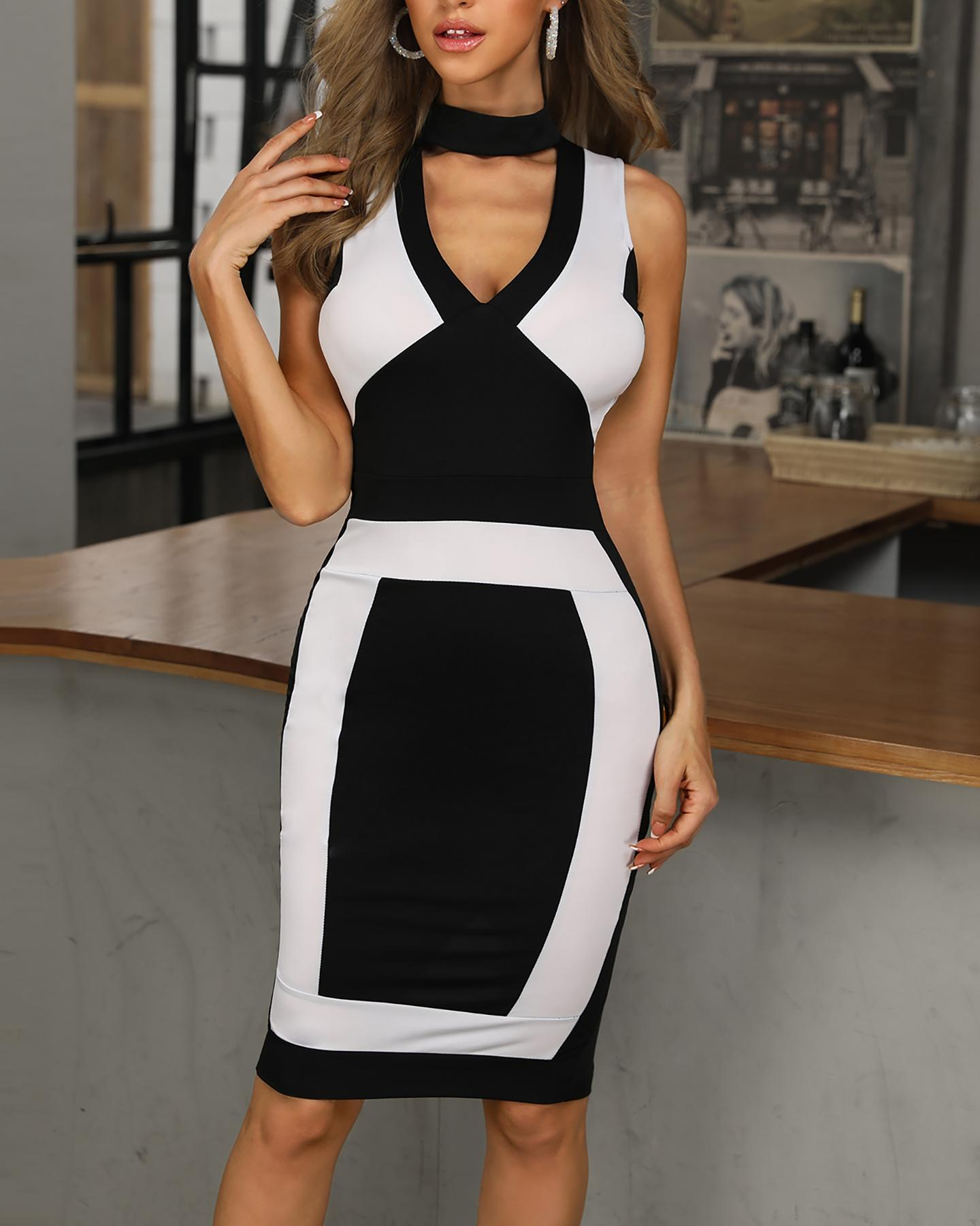 Colorblock Sleeveless Cut Out Bodycon Dress фото