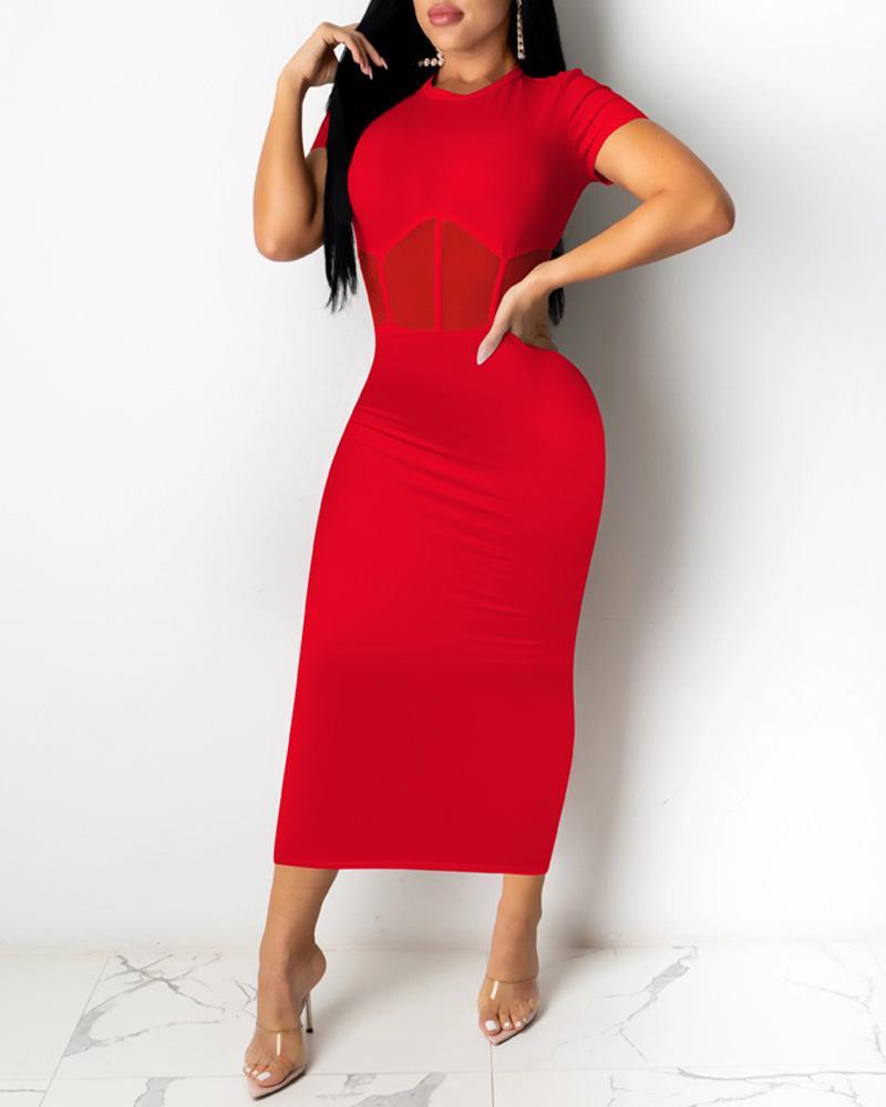 Sheer Mesh Short Sleeve Maxi Dress фото