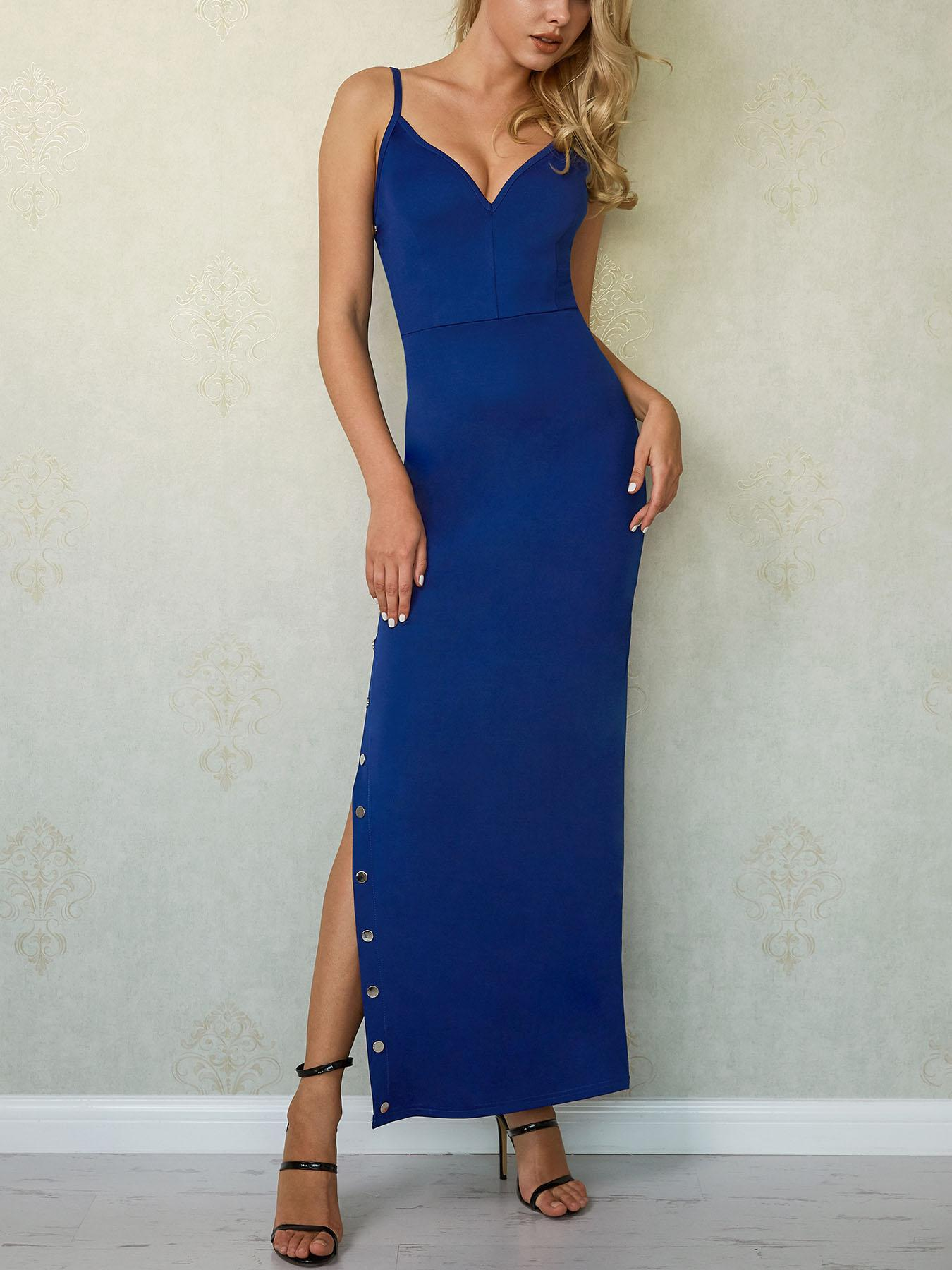 Sexy Button Side V Neck Maxi Dress, Blue