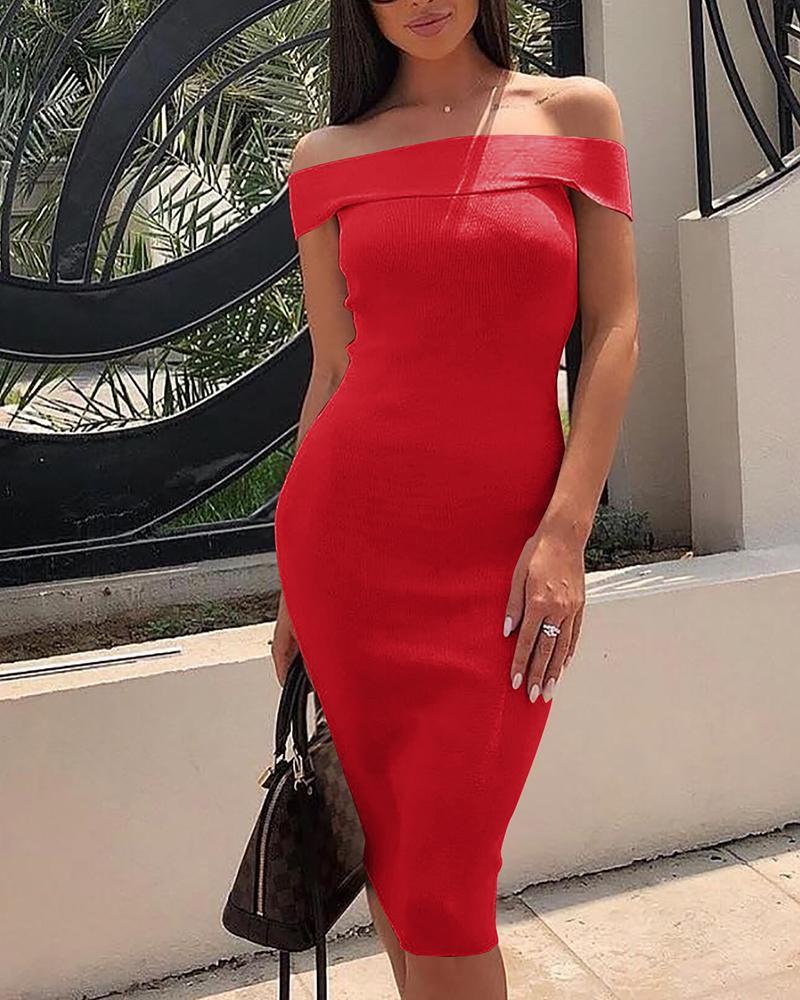 Fold Over Off Shoulder Midi Dress, Red