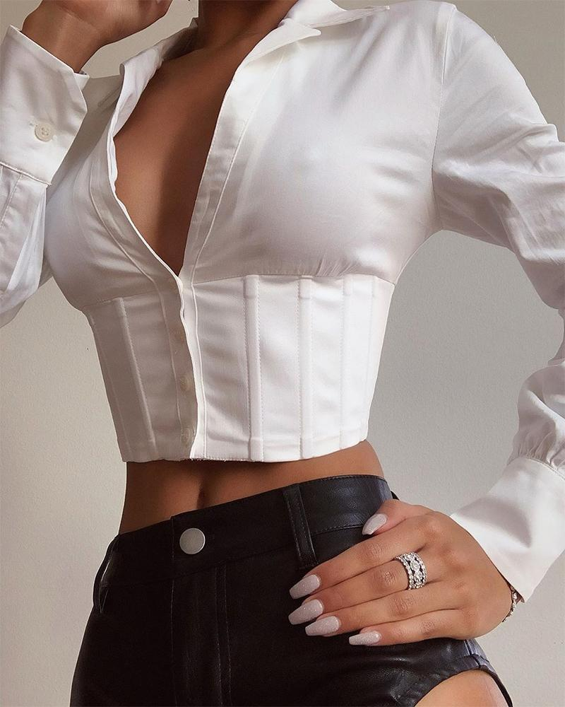 Solid Collared Corset Crop Top, White