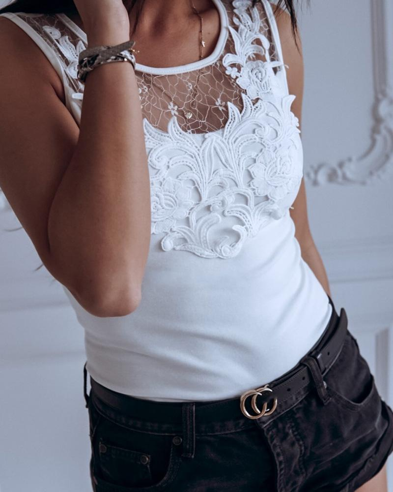Mesh Lace Insert Hollow Out Casual Top, White
