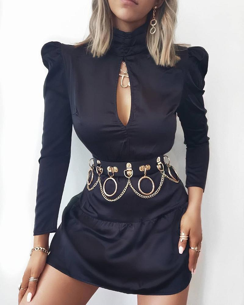ivrose / Solid Cut Out Chest Puff Sleeve Dress