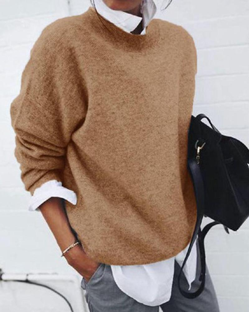 Oversized Round Neck Knitted Pullover фото