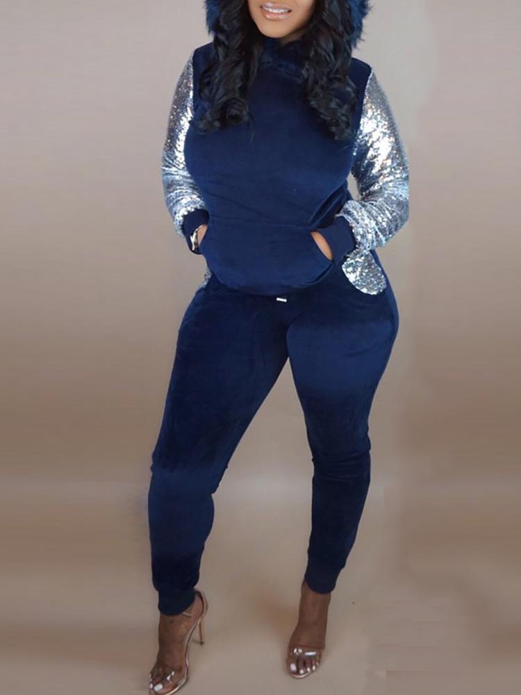 Fluffy Hooded Sequin Insert Sweatshirt & Pant Sets