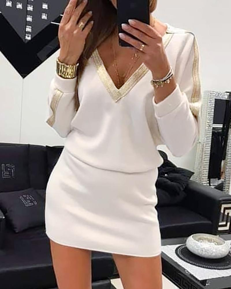 V-Neck Batwing Sleeve Contrast Bingding Casual Dress фото