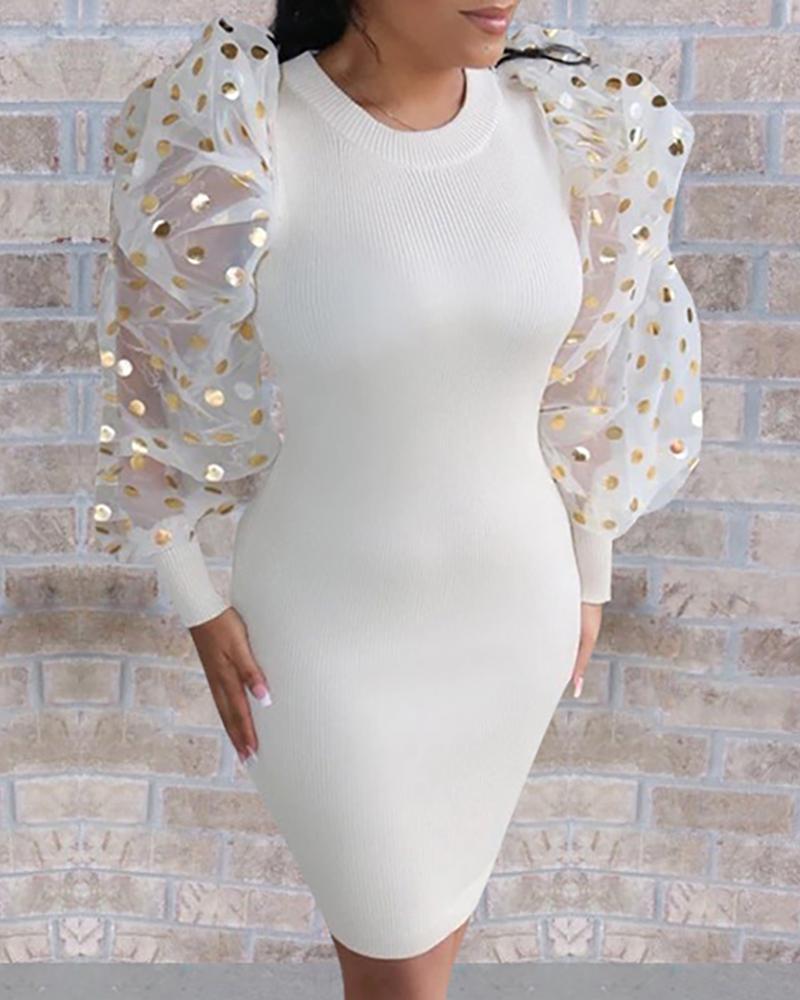 Mesh Puffed Sleeve Bodycon Dress фото