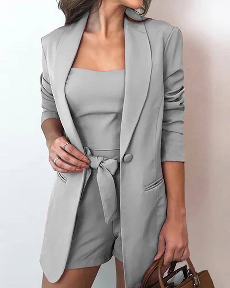 Solid Top & Blazer Coat & Shorts Sets фото