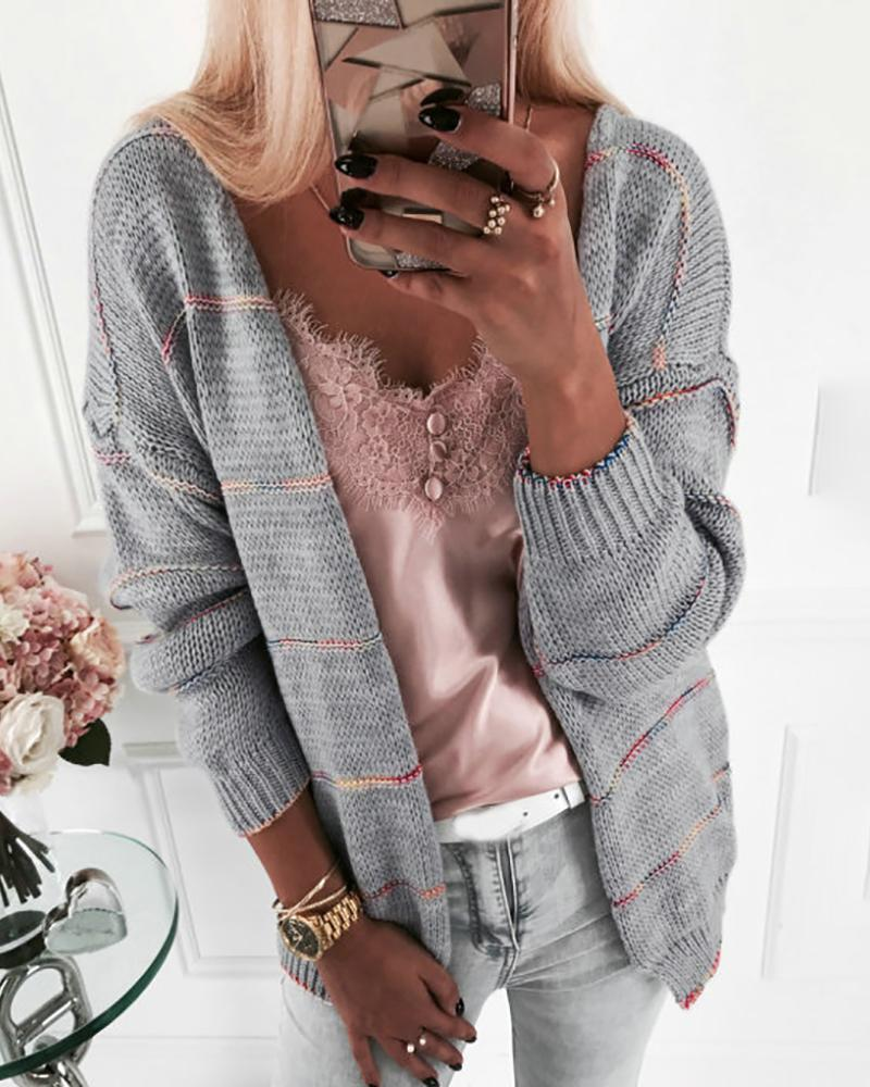 Striped Long Sleeve Open Front Cardigan фото