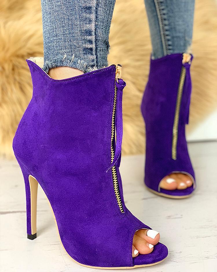 Peep Toe Zipper Design Thin Heeled Boot