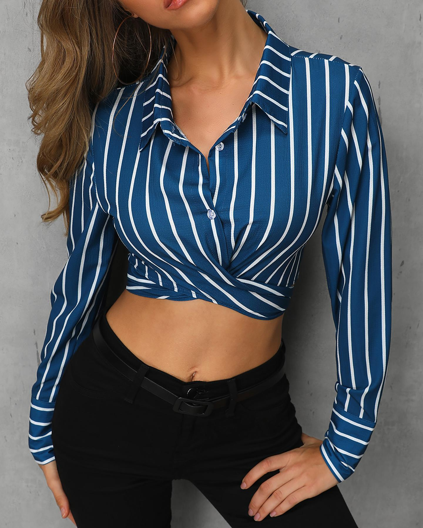 Striped Twisted Front Casual Shirt фото