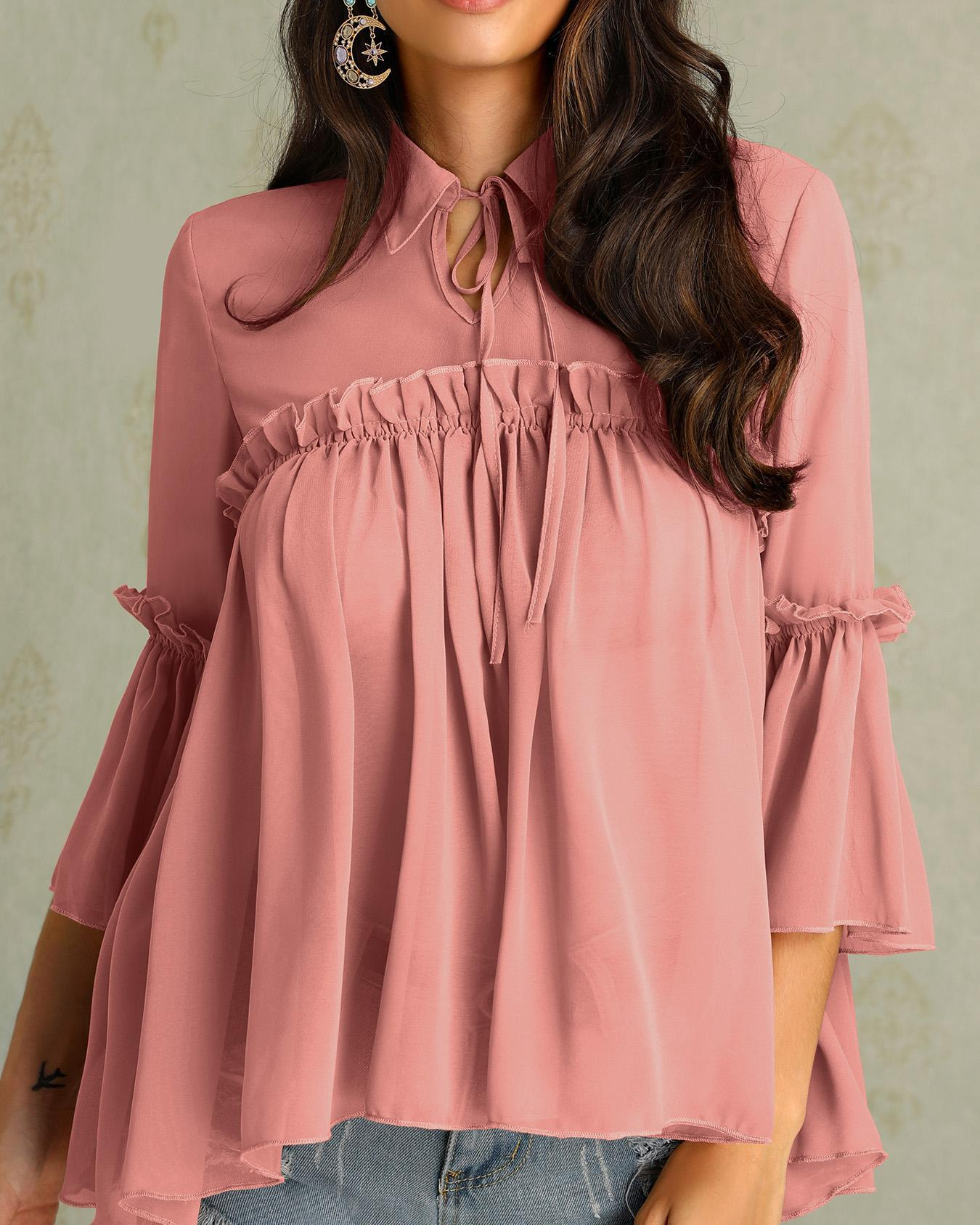 Tie Neck Frills Flared Sleeve Babydoll Blouse фото