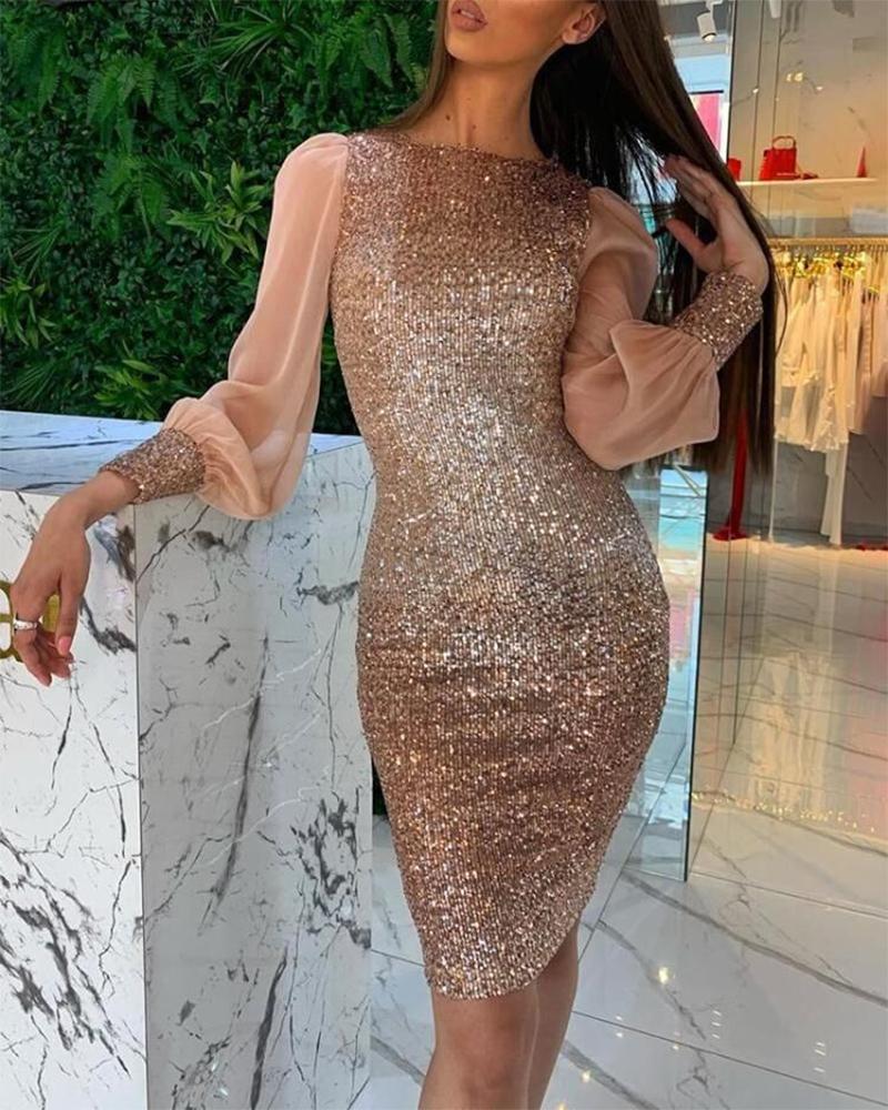 boutiquefeel / Vestido de lentejuelas bodycon de malla de manga linterna
