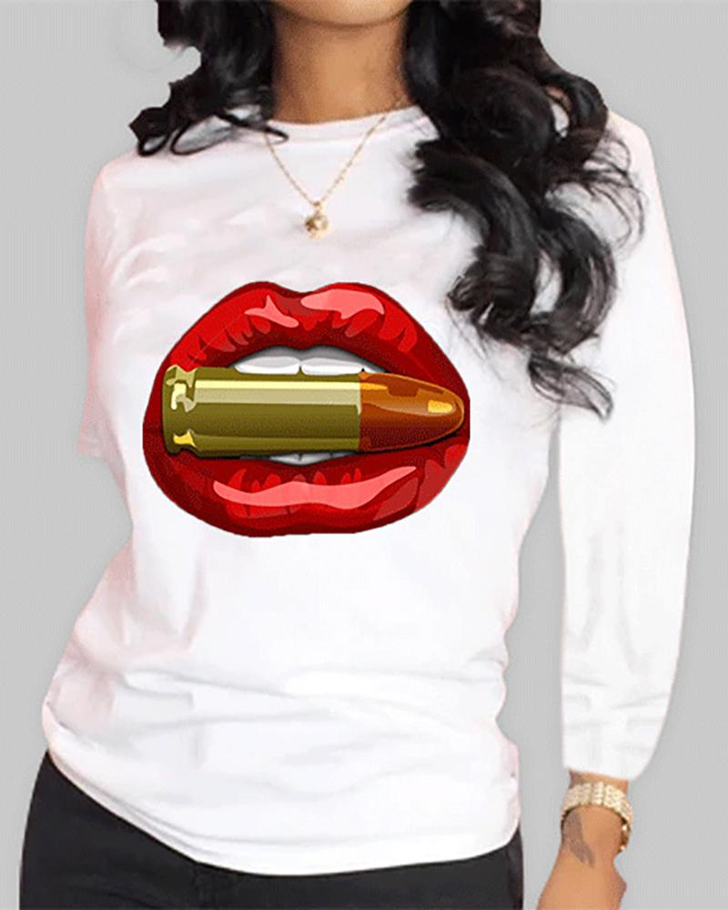 Lip Print Long Sleeve Casual T-shirt фото